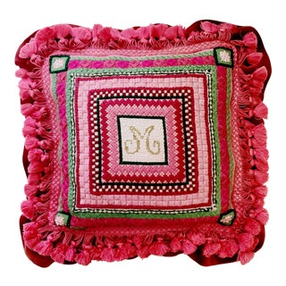 Vintage Ca 1960s Monogram M or W Needlepoint Pillow For Sale