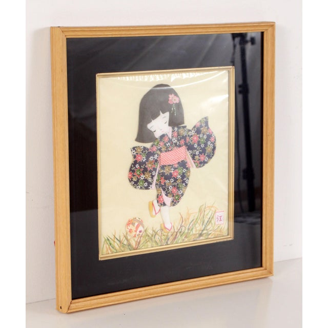 Vintage Japanese Folded & Cut Paper Art Girl in Kimono Playing Soccer For Sale In Providence - Image 6 of 9