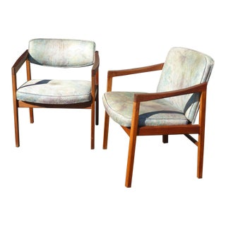 Vintage Mid Century Milo Baughman Style Blue Accent Chairs- A Pair For Sale