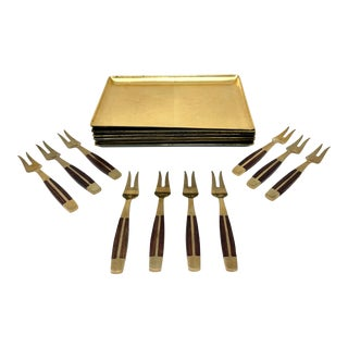 Mid-Century Brass Rosewood Appetizer Forks & Plates Serving Set - 16 Piece For Sale
