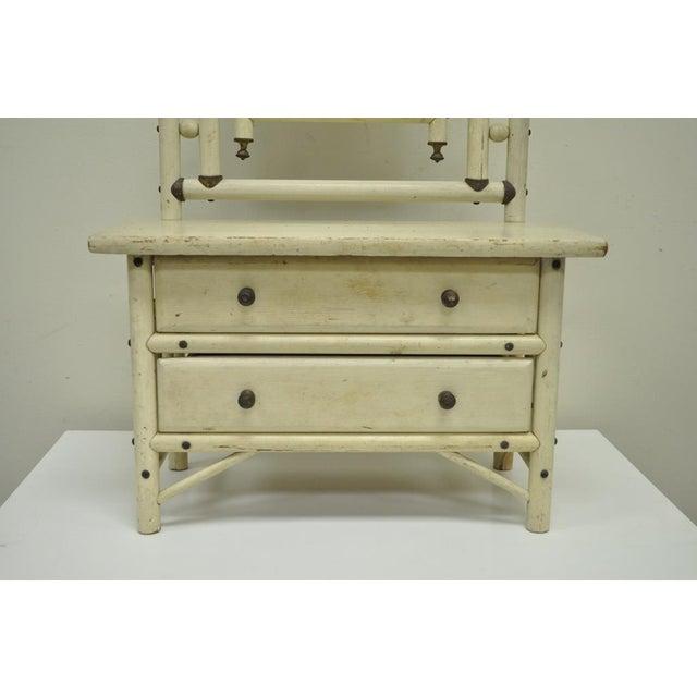"1900s 30"" H Antique Arts & Crafts Salesman Sample Bentwood Painted Dresser & Mirror For Sale - Image 5 of 11"