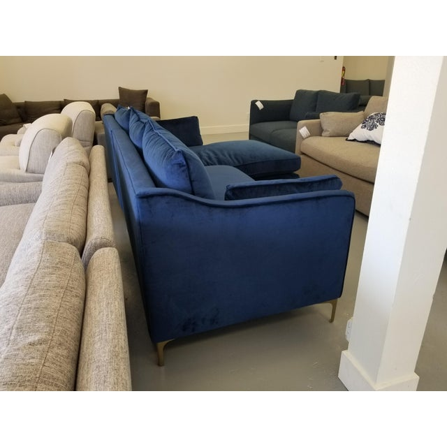 Incredible Navy Blue Velvet Sectional Sofa With Right Chaise Onthecornerstone Fun Painted Chair Ideas Images Onthecornerstoneorg