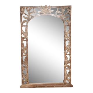 Antique Hand-Carved Wood Frame and Mirror by Tommy Bahama For Sale