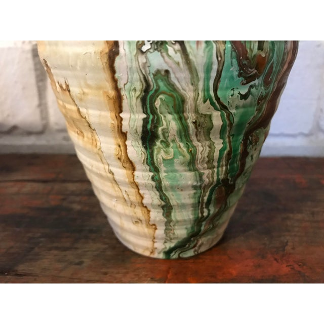 Ceramic Nemadji Tall Green and Brown Swirl Vase For Sale - Image 7 of 12