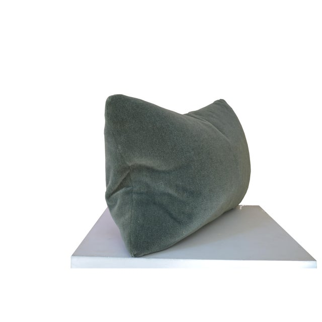 Transitional Custom George Smith Sage Green Mohair Pillow For Sale - Image 3 of 5