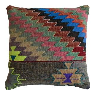 "Vintage Handmade Kilim Rug Pillow Cover. Turkish Rug Throw Pillow - 16"" X 16"" For Sale"