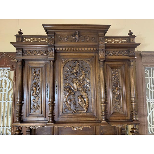 19th Century French Gothic Renaissance Carved Walnut Double Buffet / Cupboard For Sale - Image 10 of 12