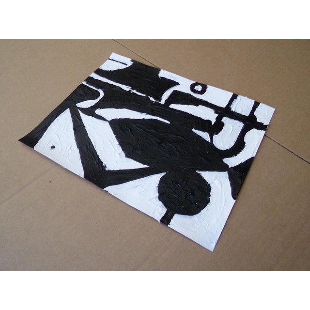 Original abstract black and white contemporary painting titled 'Mirage'. This painting was created in 2019 with acrylic on...