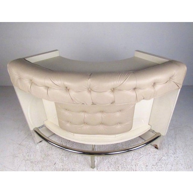 Contemporary Contemporary Modern Upholstered Dry Bar With Stools For Sale - Image 3 of 11