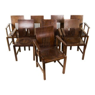 Arts and Crafts Walnut Arm Chairs - Set of 8