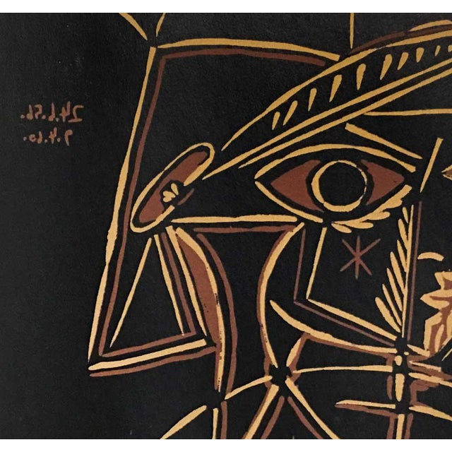 """Abstract 1959 Pablo Picasso """"Tete De Femme"""" Linocut Limited Edition Print For Sale - Image 3 of 4"""
