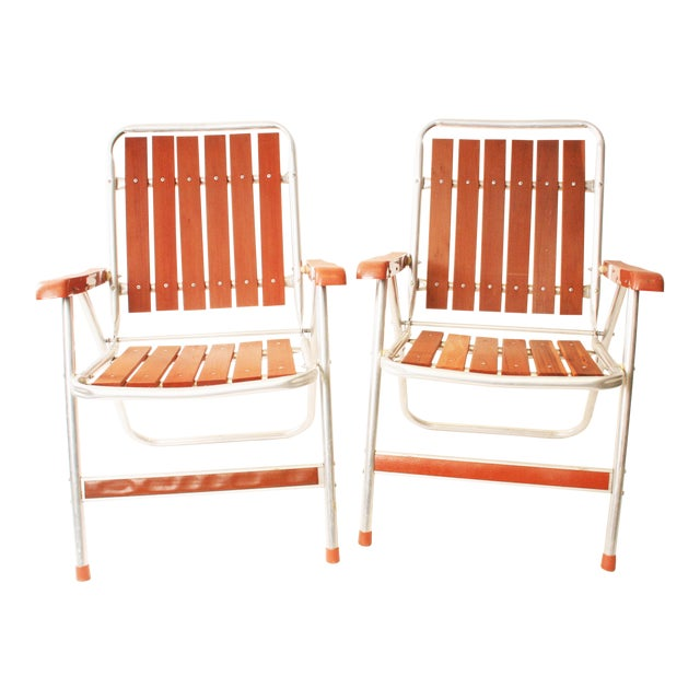 Vintage Redwood & Aluminum Folding Patio Chairs - A Pair For Sale