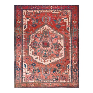 Late 19th Century Antique Serapi Rug - 9′8″ × 12′6″ For Sale