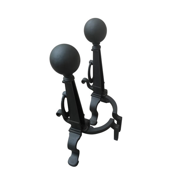 Eastlake Style Cannon Ball Top Andirons - A Pair - Image 3 of 7