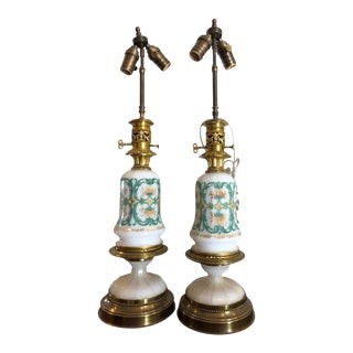 Pair of Antique Baccarat French Opaline Glass Designer Table Lamps For Sale