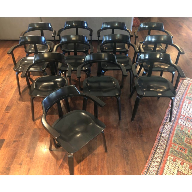 """This is a rare set of 12 model """"W199"""" bentwood armchair designed by Bauhaus co-founder Walter Gropius. Chairs feature bent..."""