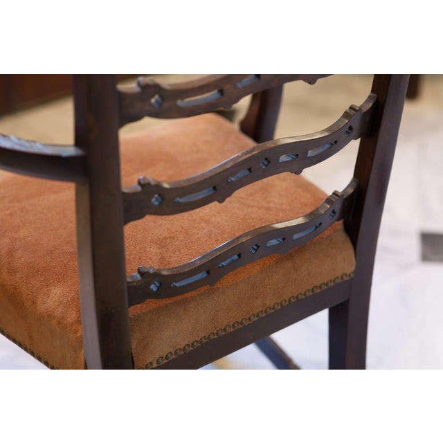 19th Century Vintage Mahogany Ladder Back Chairs- A Pair For Sale - Image 4 of 8