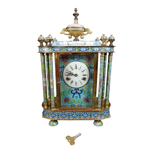 "Chinese Export Bronze and Cloisonné Mantle Clock Excellent Working Condition 19"" For Sale"