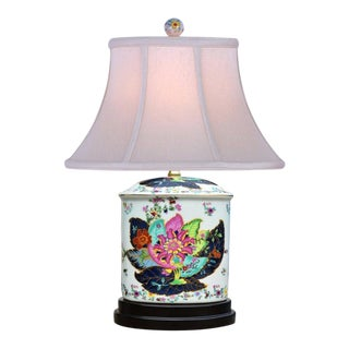 Chinoiserie Tobacco Leaf Lamp For Sale
