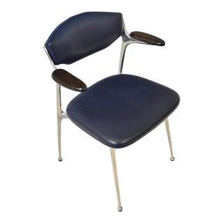 Mid Century Aluminum + Leather Desk Chair For Sale
