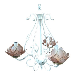 White Lotus Flower 3 Light Candelabra Chandelier