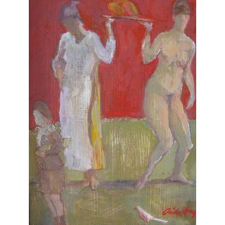 "Fry Oil Painting ""Scout With Mango Bearers"", Contemporary Red Figurative Scene For Sale"