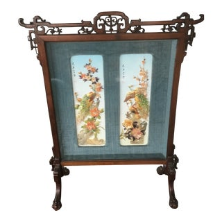 Antique Chinoiserie Chinese Carved Rosewood Velvet Shell Room Fire Screen For Sale