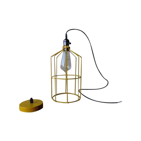 Canary Yellow Mid Century Styled Pendant Lamp For Sale