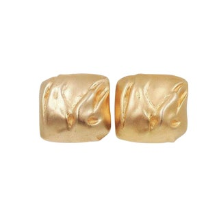 1980s Balmain Paris Modernist Goldtone Earrings For Sale