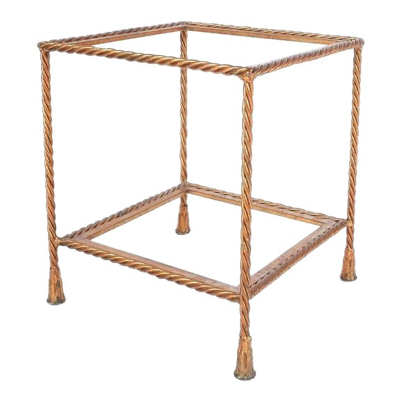Pair of Golden Iron Rope Side Tables, Attributed Maison Jansen, France, 1950 For Sale