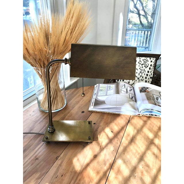 Early American Solid Brass 1930's Desk Lamps - a Pair For Sale - Image 3 of 5