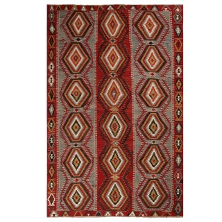 """1930's Vintage Esme Blue and Red Wool Rug-6'2'x9'7"""" For Sale"""