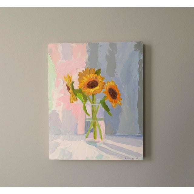 Sunflowers are a symbol of optimism and I enjoy painting them. Painted with a palette knife, it has an abstract feel to...