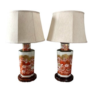 Vintage Japanese Kutani Peacock Vase Table Lamps-A Pair For Sale