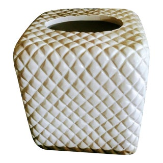 Quilted Off White Plaster Tall Tissue Box Holder Cover For Sale