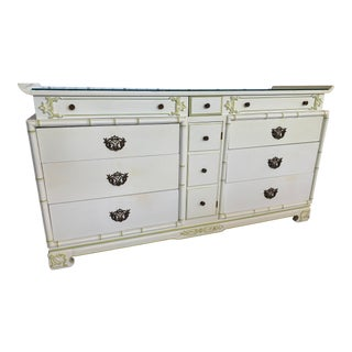 Antique Chinoiserie Regency Faux Bamboo Pagoda Dresser For Sale