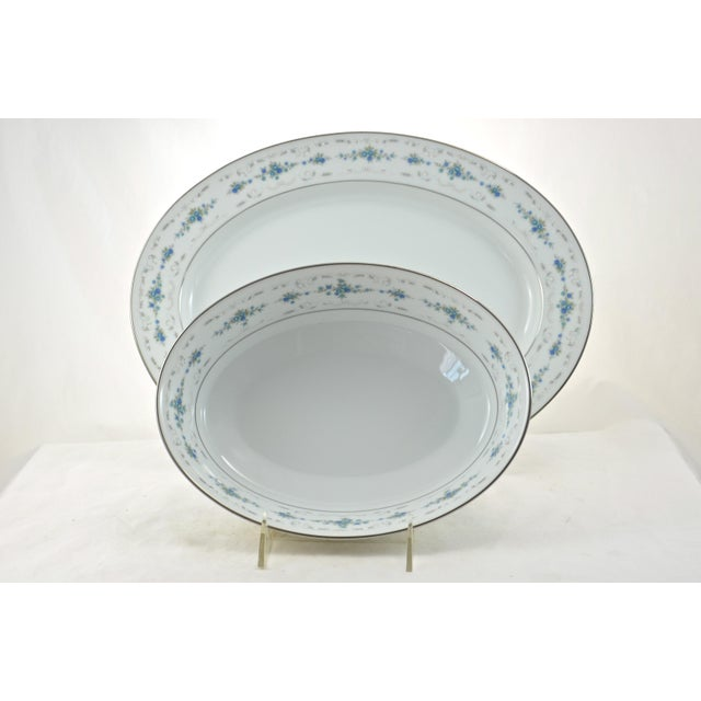 Ceramic Noritake Silver & Blue Floral Dinner Service- 77 PIeces For Sale - Image 7 of 8