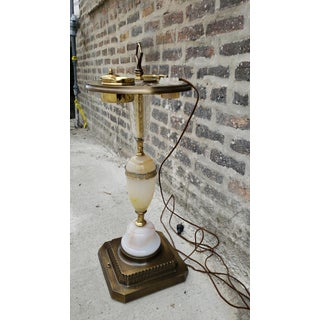 Mid Century Alabaster Crystal and Brass Lighted Floor Stand Ashtray With Electric Lighter Preview