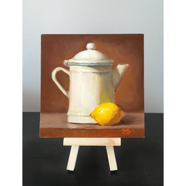 Origninal Pitcher & Lemon Still Life Oil Painting - Image 2 of 2