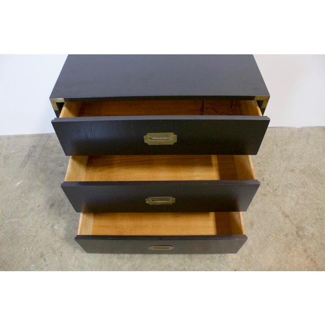 Black Lacquered Three Drawer Campaign Chest For Sale - Image 9 of 12