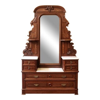 19th Century Victorian Marble Top Mirror Back Carved Walnut Gentleman's Dresser For Sale