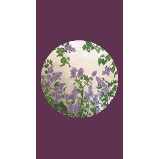 Tondi Fiori Collection Lilac Silver Circular Shaped Wallcovering On Dark Purple For Sale