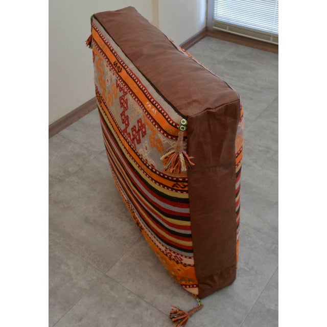 Turkish Hand Woven Floor Cushion Cover - 30″ X 30″ - Image 8 of 11