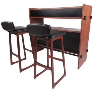Scandinavian Modern Dry Bar With Low Back Stools in Teak For Sale