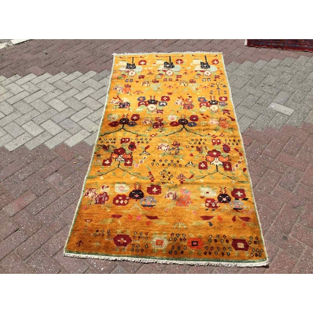 Orange Vintage Hand Knotted Turkish Rug For Sale - Image 11 of 11