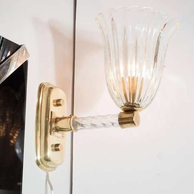 Gorgeous Pair of Mid-Century Arm Sconces in Brass and Glass by Barovier e Toso For Sale In New York - Image 6 of 8