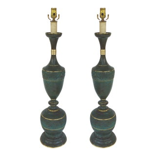 James Mont Style Mid-Century Brass Lamps - a Pair For Sale