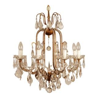 1970s Mid-Century Hollywood Regency Italian Design Crystal Beaded Chandelier For Sale