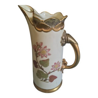 1900s English Transitional Royal Worcester China Water Pitcher