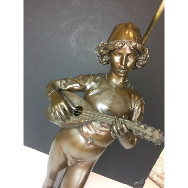 Cinnamon French Barbadian Foundry Bronze Statue of Boy With Mandolin on Bronze and Wooden Base Floor Lamp For Sale - Image 8 of 13